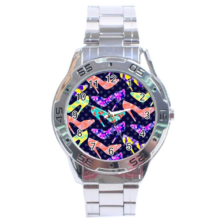 Colorful High Heels Pattern Stainless Steel Analogue Watch