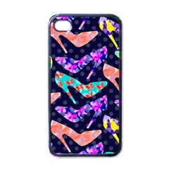 Colorful High Heels Pattern Apple Iphone 4 Case (black) by DanaeStudio