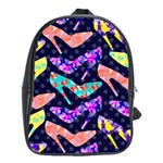 Colorful High Heels Pattern School Bags (XL)  Front