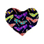 Colorful High Heels Pattern Standard 16  Premium Heart Shape Cushions