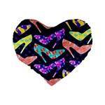 Colorful High Heels Pattern Standard 16  Premium Heart Shape Cushions Back
