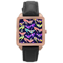 Colorful High Heels Pattern Rose Gold Leather Watch  by DanaeStudio
