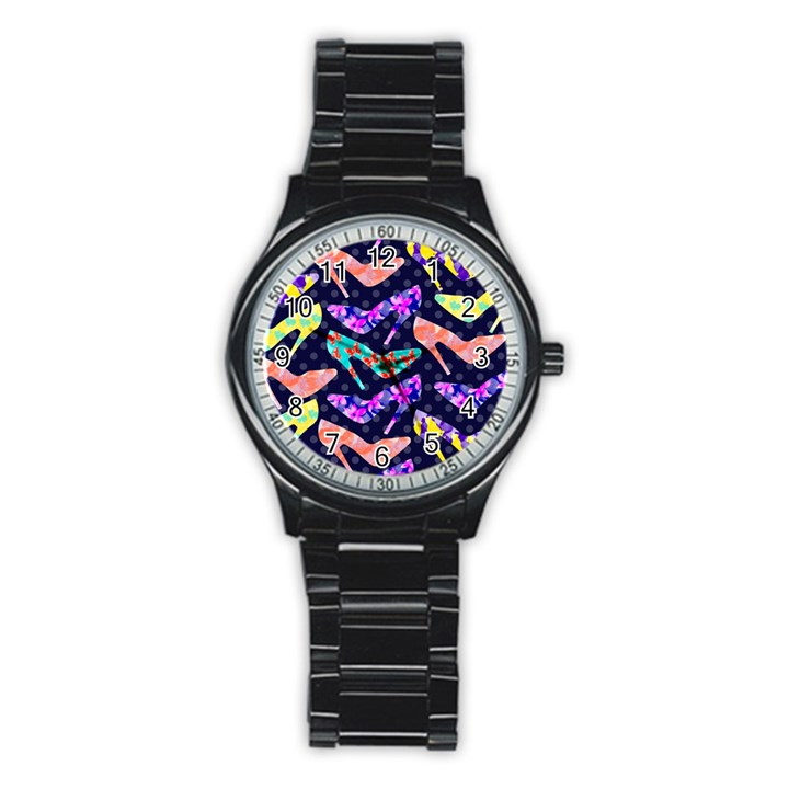 Colorful High Heels Pattern Stainless Steel Round Watch