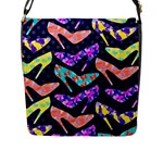 Colorful High Heels Pattern Flap Messenger Bag (L)
