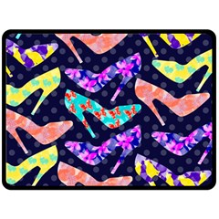 Colorful High Heels Pattern Double Sided Fleece Blanket (large)