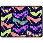 Colorful High Heels Pattern Double Sided Fleece Blanket (Large)  80 x60 Blanket Back