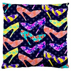 Colorful High Heels Pattern Large Flano Cushion Case (one Side) by DanaeStudio