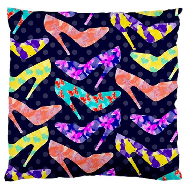 Colorful High Heels Pattern Large Flano Cushion Case (One Side)