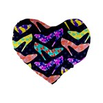 Colorful High Heels Pattern Standard 16  Premium Flano Heart Shape Cushions