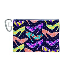 Colorful High Heels Pattern Canvas Cosmetic Bag (m) by DanaeStudio