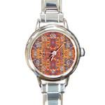 Oriental Watercolor Ornaments Kaleidoscope Mosaic Round Italian Charm Watch