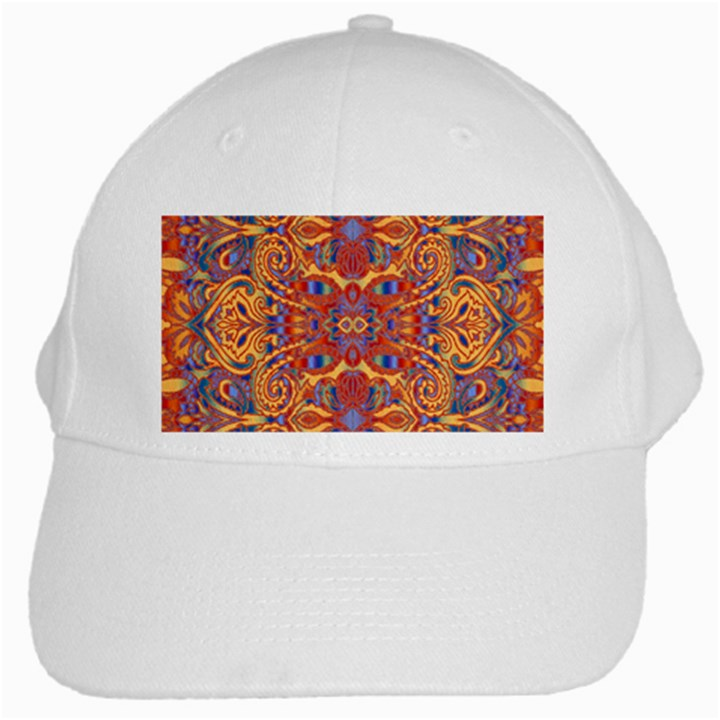 Oriental Watercolor Ornaments Kaleidoscope Mosaic White Cap