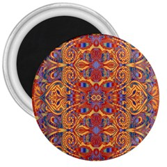Oriental Watercolor Ornaments Kaleidoscope Mosaic 3  Magnets by EDDArt
