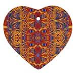 Oriental Watercolor Ornaments Kaleidoscope Mosaic Ornament (Heart)