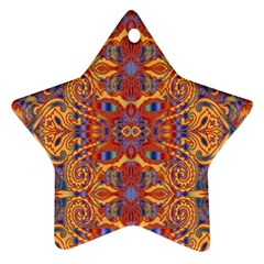 Oriental Watercolor Ornaments Kaleidoscope Mosaic Ornament (star)  by EDDArt