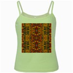 Oriental Watercolor Ornaments Kaleidoscope Mosaic Green Spaghetti Tank Front