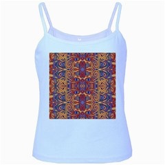 Oriental Watercolor Ornaments Kaleidoscope Mosaic Baby Blue Spaghetti Tank by EDDArt