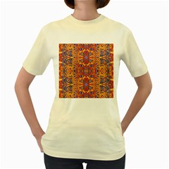 Oriental Watercolor Ornaments Kaleidoscope Mosaic Women s Yellow T Shirt