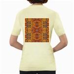 Oriental Watercolor Ornaments Kaleidoscope Mosaic Women s Yellow T-Shirt Back