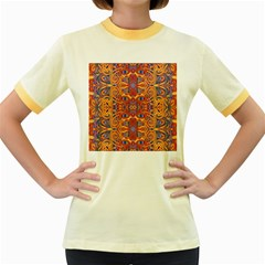 Oriental Watercolor Ornaments Kaleidoscope Mosaic Women s Fitted Ringer T Shirts