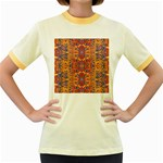 Oriental Watercolor Ornaments Kaleidoscope Mosaic Women s Fitted Ringer T-Shirts Front