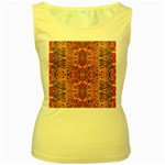 Oriental Watercolor Ornaments Kaleidoscope Mosaic Women s Yellow Tank Top Front