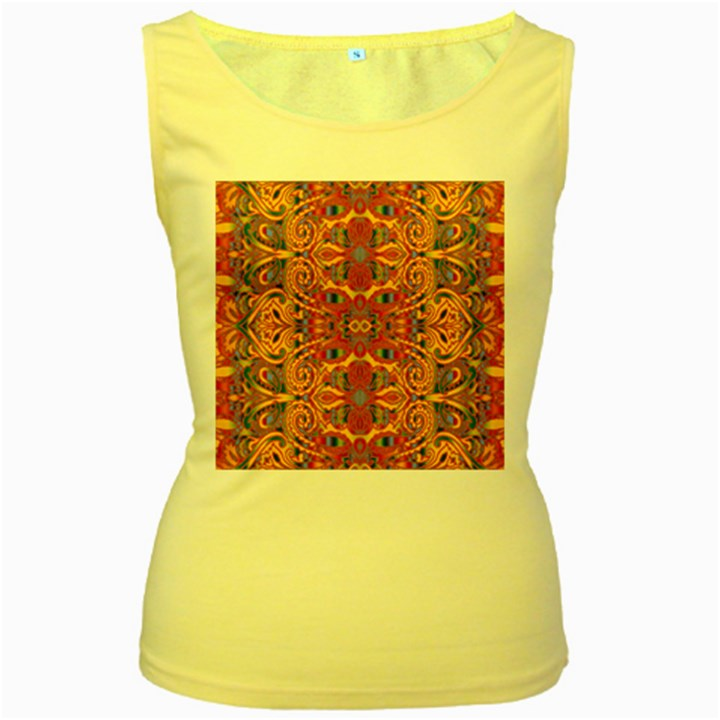 Oriental Watercolor Ornaments Kaleidoscope Mosaic Women s Yellow Tank Top