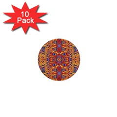 Oriental Watercolor Ornaments Kaleidoscope Mosaic 1  Mini Buttons (10 Pack)