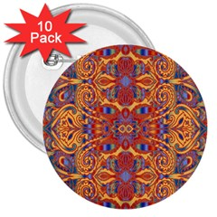 Oriental Watercolor Ornaments Kaleidoscope Mosaic 3  Buttons (10 Pack)  by EDDArt