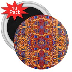 Oriental Watercolor Ornaments Kaleidoscope Mosaic 3  Magnets (10 Pack)  by EDDArt