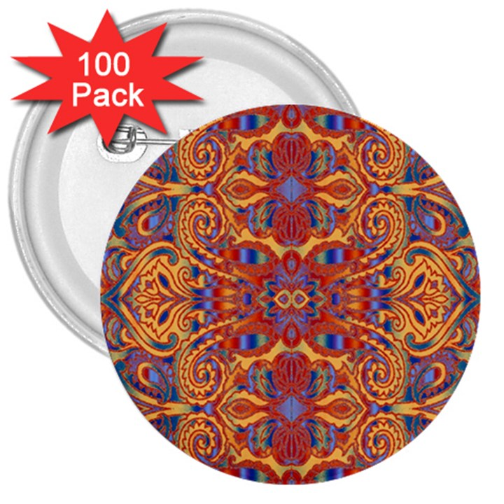 Oriental Watercolor Ornaments Kaleidoscope Mosaic 3  Buttons (100 pack)