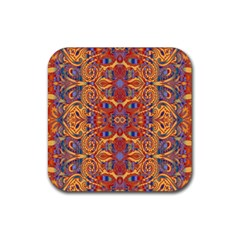 Oriental Watercolor Ornaments Kaleidoscope Mosaic Rubber Coaster (square)  by EDDArt