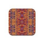 Oriental Watercolor Ornaments Kaleidoscope Mosaic Rubber Coaster (Square)