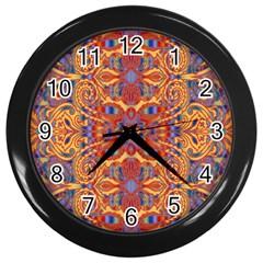 Oriental Watercolor Ornaments Kaleidoscope Mosaic Wall Clocks (Black)