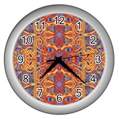 Oriental Watercolor Ornaments Kaleidoscope Mosaic Wall Clocks (silver)  by EDDArt