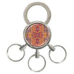 Oriental Watercolor Ornaments Kaleidoscope Mosaic 3 Ring Key Chains