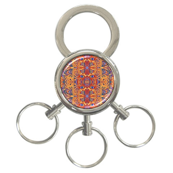 Oriental Watercolor Ornaments Kaleidoscope Mosaic 3-Ring Key Chains
