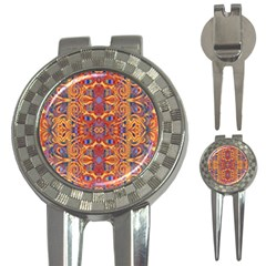 Oriental Watercolor Ornaments Kaleidoscope Mosaic 3 In 1 Golf Divots