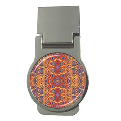 Oriental Watercolor Ornaments Kaleidoscope Mosaic Money Clips (round)  by EDDArt