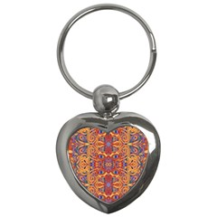 Oriental Watercolor Ornaments Kaleidoscope Mosaic Key Chains (heart)