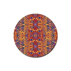 Oriental Watercolor Ornaments Kaleidoscope Mosaic Rubber Coaster (round)