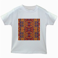 Oriental Watercolor Ornaments Kaleidoscope Mosaic Kids White T Shirts by EDDArt