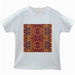 Oriental Watercolor Ornaments Kaleidoscope Mosaic Kids White T-Shirts Front