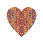 Oriental Watercolor Ornaments Kaleidoscope Mosaic Heart Magnet