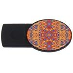 Oriental Watercolor Ornaments Kaleidoscope Mosaic USB Flash Drive Oval (2 GB)