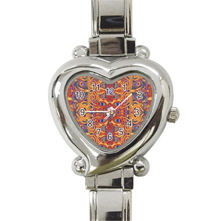 Oriental Watercolor Ornaments Kaleidoscope Mosaic Heart Italian Charm Watch