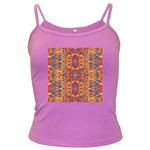 Oriental Watercolor Ornaments Kaleidoscope Mosaic Dark Spaghetti Tank Front