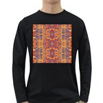 Oriental Watercolor Ornaments Kaleidoscope Mosaic Long Sleeve Dark T-Shirts Front