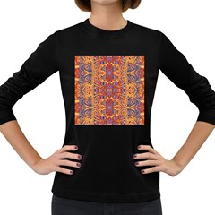 Oriental Watercolor Ornaments Kaleidoscope Mosaic Women s Long Sleeve Dark T Shirts