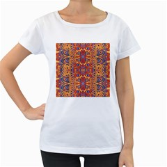 Oriental Watercolor Ornaments Kaleidoscope Mosaic Women s Loose Fit T Shirt (white)